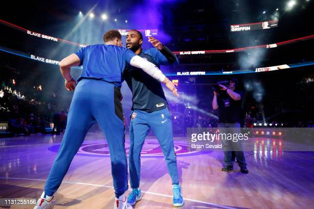 Wayne Ellington of the Detroit Pistons and Blake Griffin of the Detroit Pistons embrace during player introductions prior to the game against the...