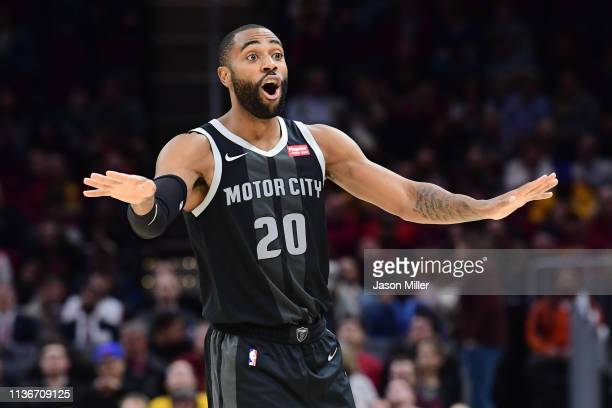 Wayne Ellington of the Detroit Pistons reacts during the first half against the Cleveland Cavaliers at Quicken Loans Arena on March 18 2019 in...