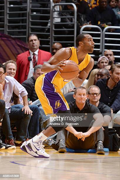 Wayne Ellington of the Los Angeles Lakers dribbles the ball against Phoenix Suns during the game at the at STAPLES Center on November 04 2014 in Los...