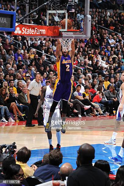 Wayne Ellington of the Los Angeles Lakers goes up for a dunk against the Los Angeles Clippers on January 7 2015 at STAPLES Center in Los Angeles...