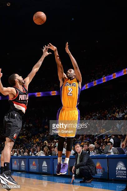 Wayne Ellington of the Los Angeles Lakers takes a shot against the Portland Trail Blazers at the Citizens Business Bank Arena in Ontario California...