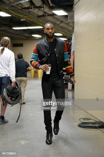 Wayne Ellington of the Miami Heat arrives before the game against the Philadelphia 76ers in Game One of Round One of the 2018 NBA Playoffs on April...