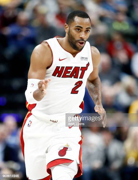 Wayne Ellington of the Miami Heat celebrates after making a three point shot against the Indiana Pacers during the game at Bankers Life Fieldhouse on...