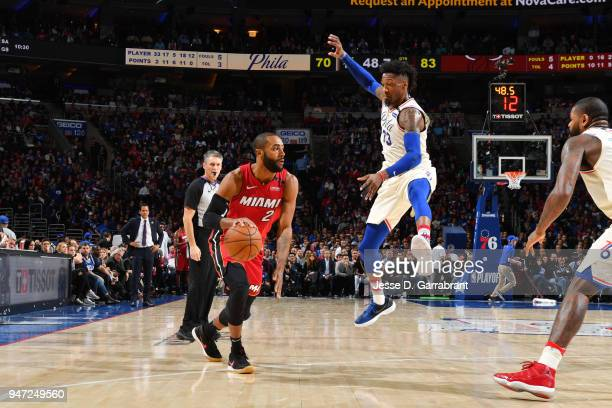 Wayne Ellington of the Miami Heat handles the ball against the Philadelphia 76ers in Game Two of Round One of the 2018 NBA Playoffs on April 16 2018...