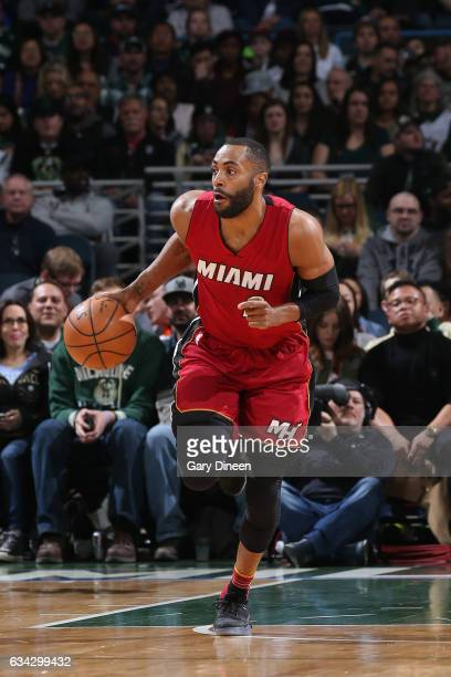 Wayne Ellington of the Miami Heat handles the ball against the Milwaukee Bucks on February 8 2017 at the BMO Harris Bradley Center in Milwaukee...