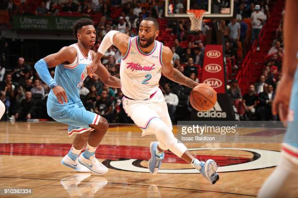 Wayne Ellington of the Miami Heat handles the ball against the Sacramento Kings on January 25 2018 at AmericanAirlines Arena in Miami Florida NOTE TO...