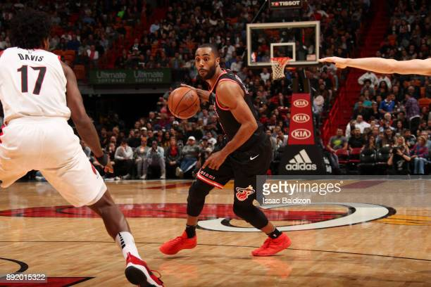 Wayne Ellington of the Miami Heat handles the ball against the Portland Trail Blazers on December 13 2017 at American Airlines Arena in Miami Florida...