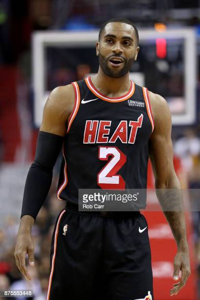 Wayne Ellington of the Miami Heat reacts after being called for a foul against the Washington Wizards in the second half at Capital One Arena on...