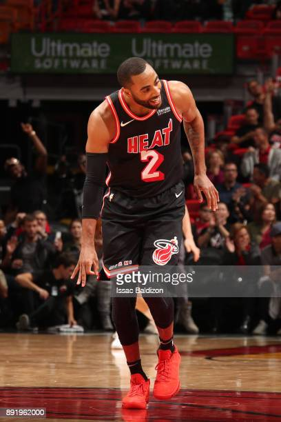 Wayne Ellington of the Miami Heat reacts during the game against the Portland Trail Blazers on December 13 2017 at American Airlines Arena in Miami...