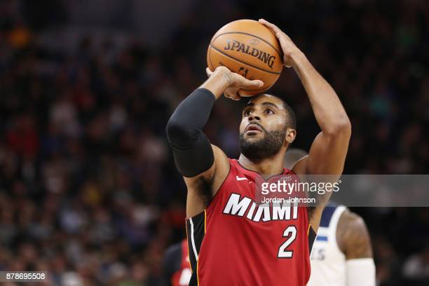 Wayne Ellington of the Miami Heat shoots a free throw against the Minnesota Timberwolves on November 24 2017 at Target Center in Minneapolis...