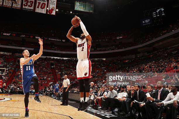 Wayne Ellington of the Miami Heat shoots the ball against the Philadelphia 76ers on October 21 2016 at AmericanAirlines Arena in Miami Florida NOTE...
