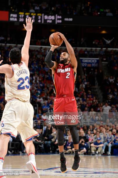 Wayne Ellington of the Miami Heat shoots the ball against the Philadelphia 76ers in Game Two of Round One of the 2018 NBA Playoffs on April 16 2018...