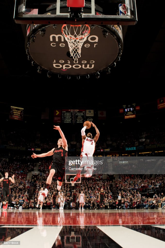 Wayne Ellington #2 of the Miami Heat shoots the ball against the Portland Trail Blazers on March 12, 2018 at the Moda Center Arena in Portland, Oregon.