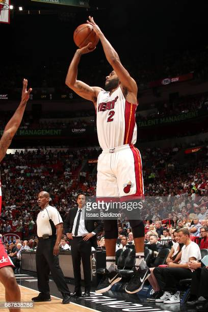 Wayne Ellington of the Miami Heat shoots the ball during the game against the Washington Wizards on April 12 2017 at AmericanAirlines Arena in Miami...