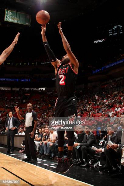 Wayne Ellington of the Miami Heat shoots the ball during the game against the Indiana Pacers on November 19 2017 at American Airlines Arena in Miami...