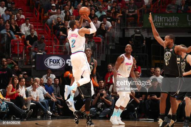Wayne Ellington of the Miami Heat shoots the ball during the game against the Milwaukee Bucks on February 9 2018 at American Airlines Arena in Miami...