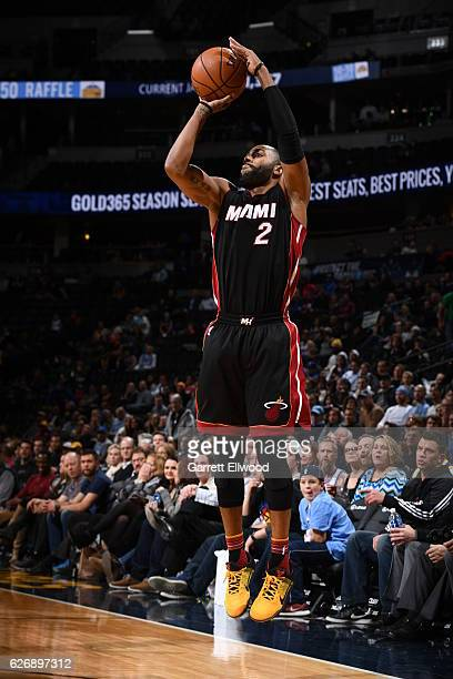 Wayne Ellington of the Miami Heat shoots the ballagainst the Denver Nuggets on November 30 2016 at the Pepsi Center in Denver Colorado NOTE TO USER...
