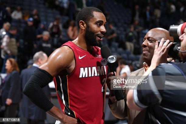 Wayne Ellington of the Miami Heat talks with media after the game against the Minnesota Timberwolves on November 24 2017 at Target Center in...
