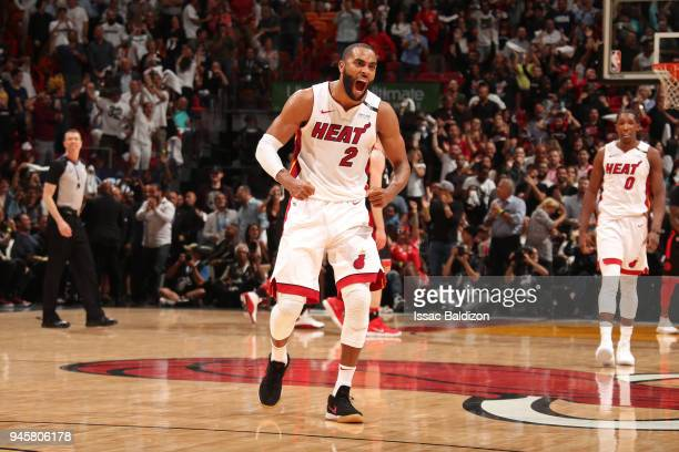 Wayne Ellington of the Miami Heat yells and celebrates against the Toronto Raptors on April 11 2018 at American Airlines Arena in Miami Florida NOTE...