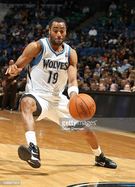 Wayne Ellington of the Minnesota Timberwolves handles the ball during a game against the Memphis Grizzlies on February 2 2011 at Target Center in...