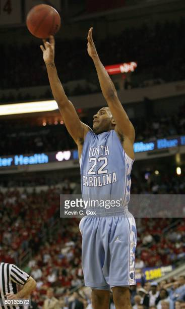 Wayne Ellington of the North Carolina Tar Heels takes a shot against the North Carolina State Wolfpack during the game at RBC Center on February 20...