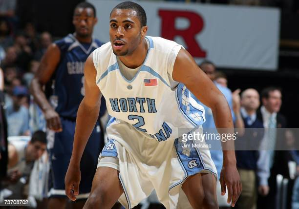 Wayne Ellington of the University of North Carolina Tar Heels gets set against the Georgetown Hoyas during the NCAA Men's East Regional Final at the...