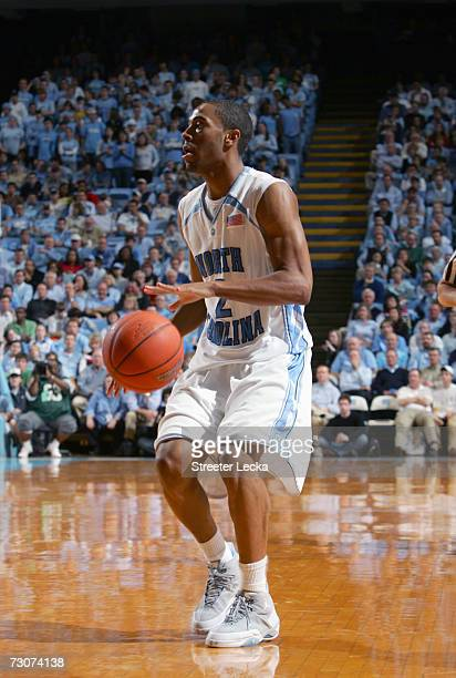 Wayne Ellington of the University of North Carolina Tar Heels dribbles the ball during the game against the Pennsylvania Quakers on January 3 2007 at...