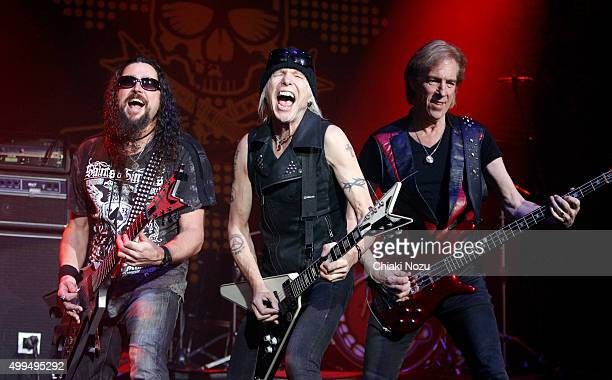 Wayne Findlay Michael Schenker and Francis Buchholz of Michael Schenker's Temple of Rock perform at O2 Academy Brixton on December 1 2015 in London...