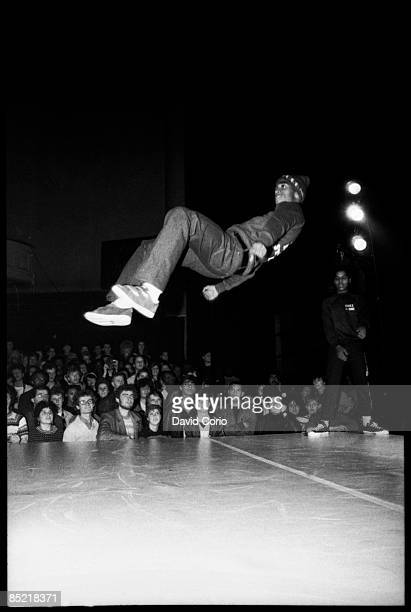Wayne 'Frosty Freeze' Frost of American breaking and hip hop group 'Rock Steady Crew' performs for the audience at The Venue London 27th November...