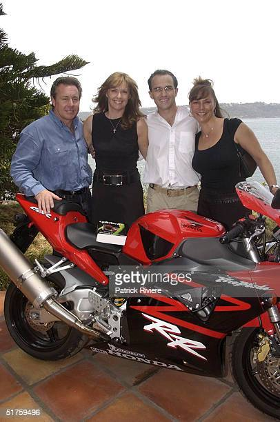 "Wayne Gardner, Donna Gardner, Johnny Kahlbetzer and Wayne Gardner's current wife Toni at the launch of ""Leathers"" by Donna Gardner, at Windemere in..."