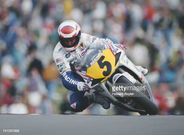 Wayne Gardner of Australia riding the Rothmans HondaHRC NSR500 during the British motorcycle Grand Prix on 2 August 1992 at the Donington Park...