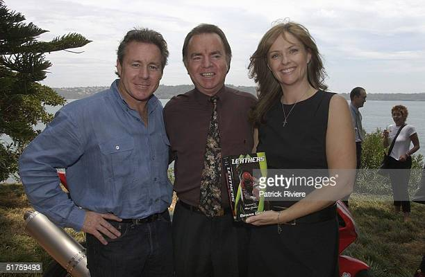 "Wayne Gardner, publisher Kerry Collison and Donna Gardner at the launch of ""Leathers"" by Donna Gardner, at Windemere in Sydney where she lives with..."