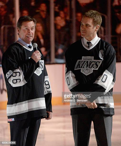 Wayne Gretzky and Luc Robitaille address the fans prior to the 2017 Honda NHL AllStar Game at Staples Center on January 29 2017 in Los Angeles...