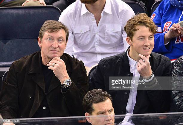 Wayne Gretzky and Ty Gretzky attend Tampa Bay Lighting vs New York Rangers game at Madison Square Garden on December 1 2014 in New York City