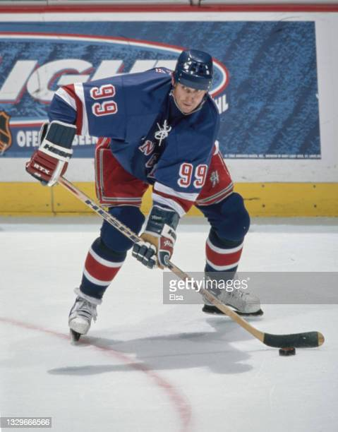 Wayne Gretzky, Center for the New York Rangers in motion on the ice during the NHL Western Conference Pacific Division game against the Mighty Ducks...