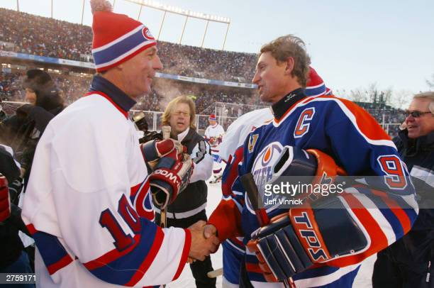 Wayne Gretzky Guy Lafleur shakes hands after the Edmonton Oilers faced the Montreal Canadiens during the Molson Canadien Heritage Classic Megastars...