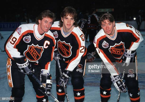 Wayne Gretzky Luc Robitaille and Jari Kurri of the Campbell Conference and the Los Angeles Kings pose for a portrait before the 1993 44th NHL AllStar...