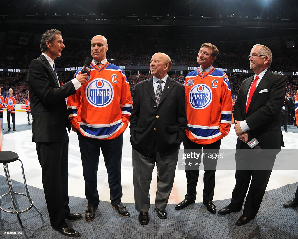 Wayne Gretzky, Mark Messier of the Edmonton Oilers Alumni and broadcaster Bob Cole are interviewed by Gene Principe and John Shannon during the Farewell Rexall Place ceremony following the game against the Vancouver Canucks on April 6, 2016 at Rexall Place in Edmonton, Alberta, Canada.