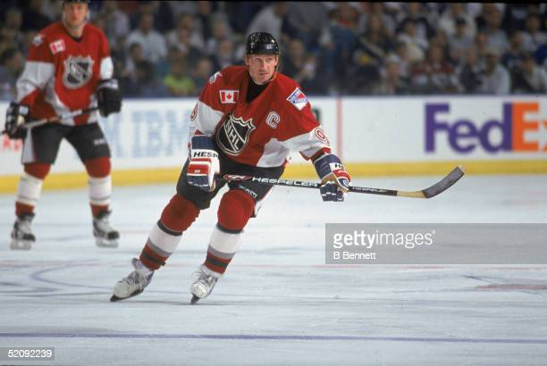 Wayne Gretzky of North America and the New York Rangers skates on the ice during the 1999 49th NHL AllStar Game against the World on January 24 1999...