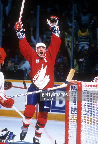 Wayne Gretzky of Team Canada celebrates a goal during Game 2 of the 1987 Canada Cup on September 13 1987 at Copps Coliseum in Hamilton Ontario Canada...