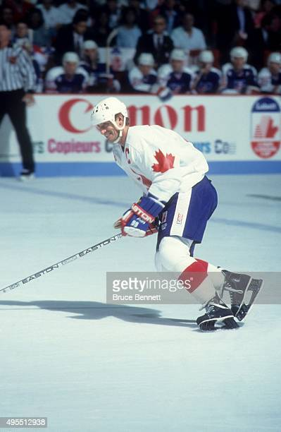 Wayne Gretzky of Team Canada skates on the ice during Game 1 of the 1991 Canada Cup Finals against Team United States on September 14 1991 at the...