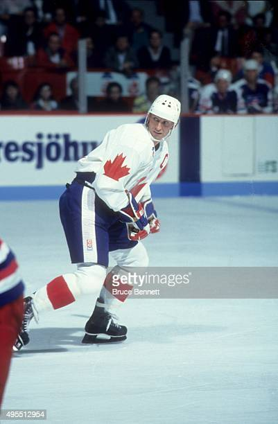 Wayne Gretzky of Team Canada skates on the ice during Game 1 of the 1991 Canada Cup Finals against Team United States on September 14, 1991 at the...