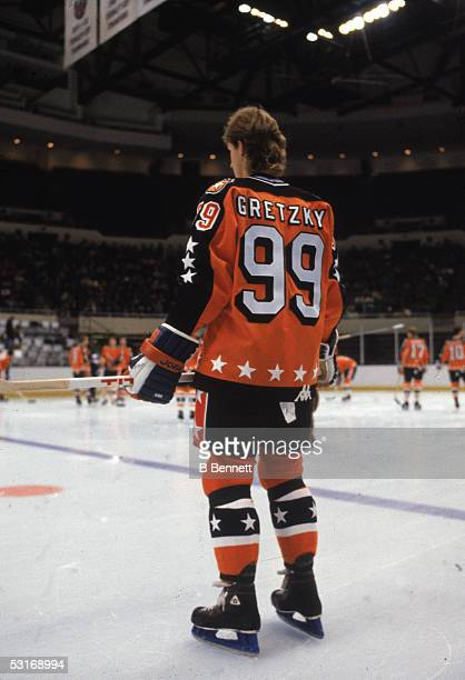 Wayne Gretzky of the Campbell Conference and the Edmonton Oilers stands on the ice just before the 1983 35th NHL All-Star Game against the Wales...