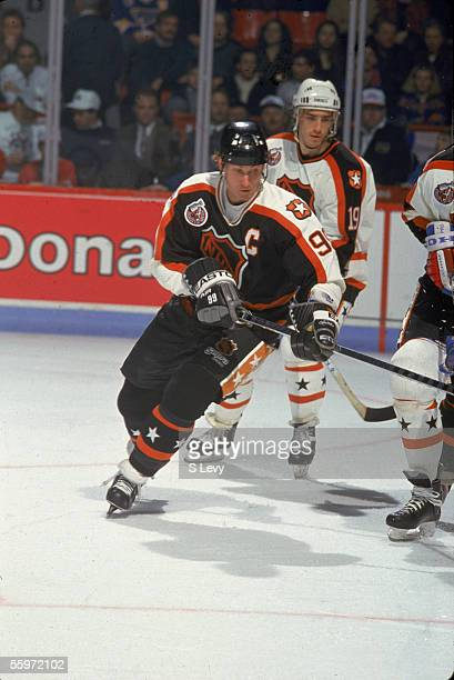 Wayne Gretzky of the Campbell Conference and the Los Angeles Kings skates on the ice during the 1993 44th NHL All-Star Game against the Wales...