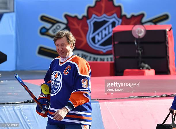 Wayne Gretzky of the Edmonton Oilers alumni takes to the ice prior to the 2016 Tim Hortons NHL Heritage Classic alumni game at Investors Group Field...