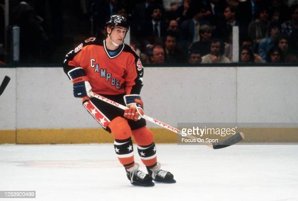 Wayne Gretzky of the Edmonton Oilers and the Campbell Conference All Stars skates against the Wales Conference during the 1983 NHL All Star Gams on...