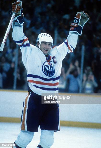 Wayne Gretzky of the Edmonton Oilers celebrates a goal during the 1987 Stanley Cup Finals against the Philadelphia Flyers in May, 1987 at the...