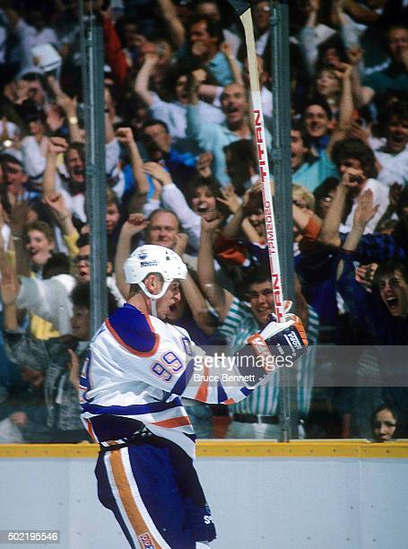 Wayne Gretzky of the Edmonton Oilers celebrates a goal during the 1988 Stanley Cup Finals against the Boston Bruins in May 1988 at the Northlands...