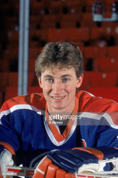 Wayne Gretzky of the Edmonton Oilers poses for a portrait on January 9 1985 at the Montreal Forum in Montreal Quebec Canada