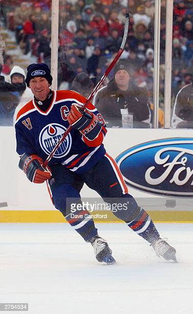 Wayne Gretzky of the Edmonton Oilers skates against the Montreal Canadiens during the Molson Canadien Heritage Classic Megastars Game on November 22...